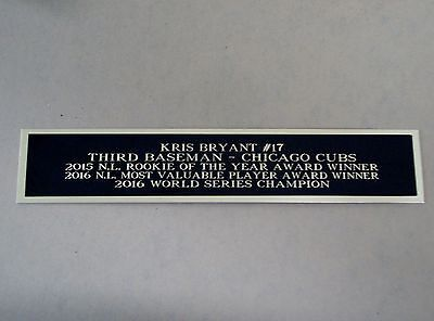 Kris Bryant Chicago Cubs Nameplate For A Baseball Bat Display Case 1.25 X 6