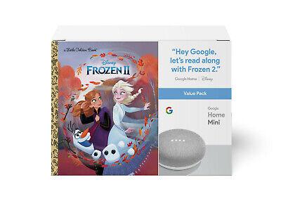 NEW Google Home Mini Smart Speaker Chalk with Disney Frozen II Book Bundle