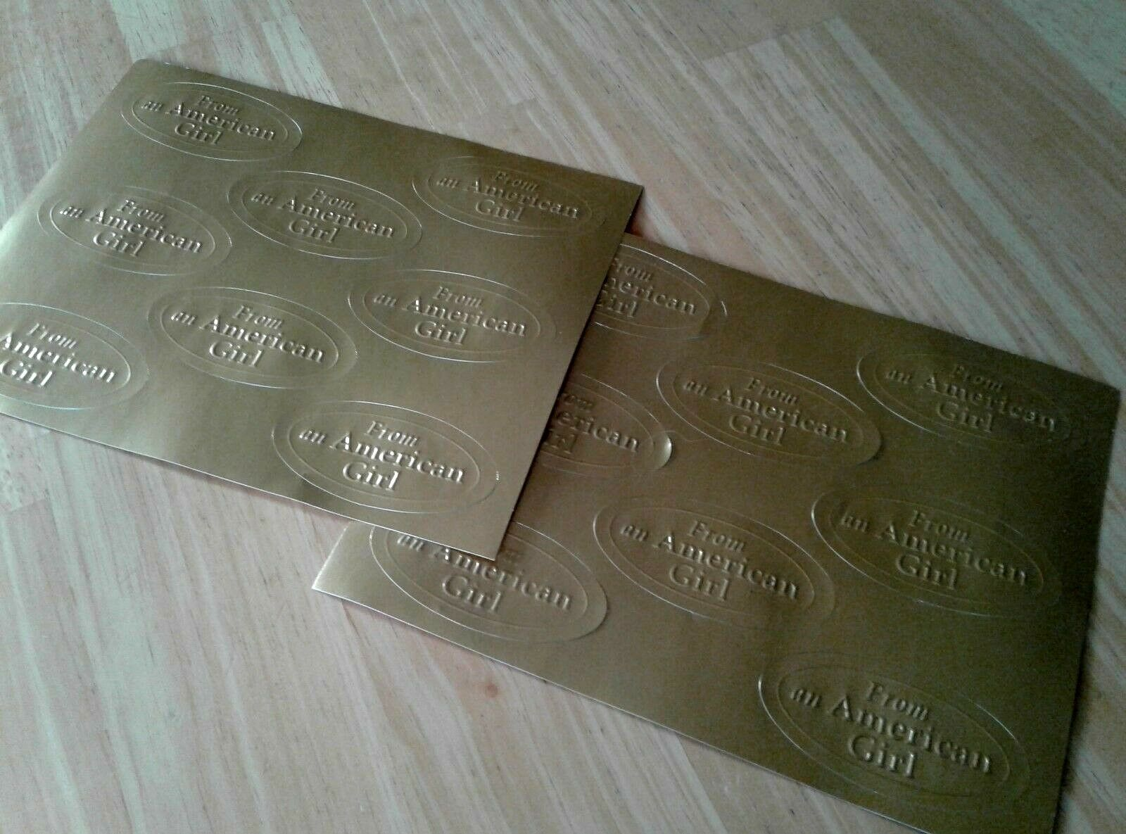 AMERICAN GIRL Gold Stickers From An American Girl 16 Oval Envelope Seals - $6.99