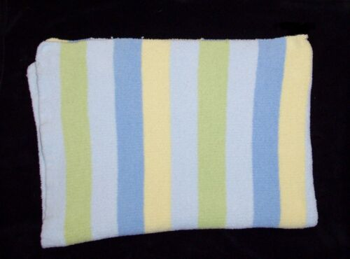 Carters Just One Year Blue Yellow Green Stripe Baby Blanket Chenille Security