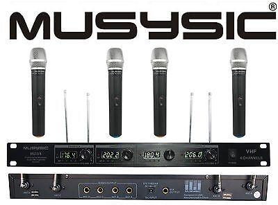 MUSYSIC Professional 4 Channel VHF Handheld Wireless Microphone System MU-V4H