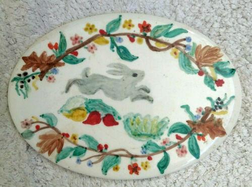 "vtg WHEELING Hand Painted OVAL Art Tile~Primitive RABBIT Floral~6""x4.5"" Bunny"