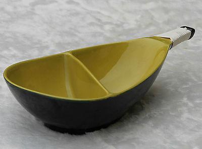 Keramik Anbietschale Nierenform Rockabilly gelb - schwarz ! 50er - 60er Jahre !