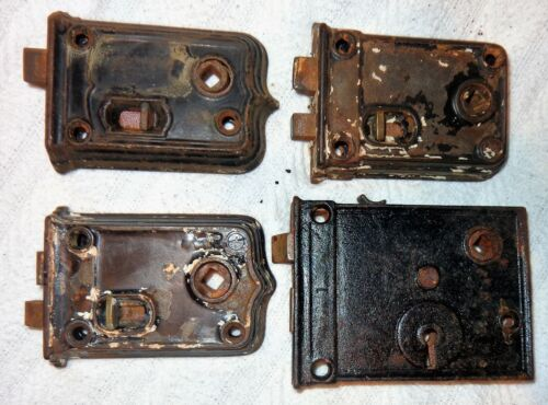 Mixed lot 4 Vintage Antique Old Metal Door Knob Lock Mortise Mechanisms