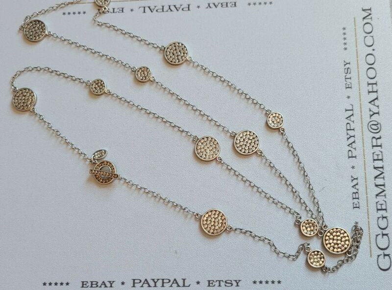 "vtg 925 STERLING 36"" Anna Beck DOT design pattern Long Necklace / free ship USA"