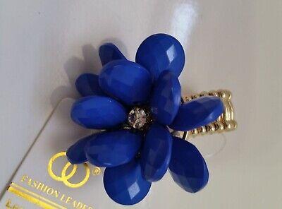 Crystal Beads Royal BLUE Flower Floral Stretch gold-tone Ring N4-6/22 - Gold Crystal Stretch Ring