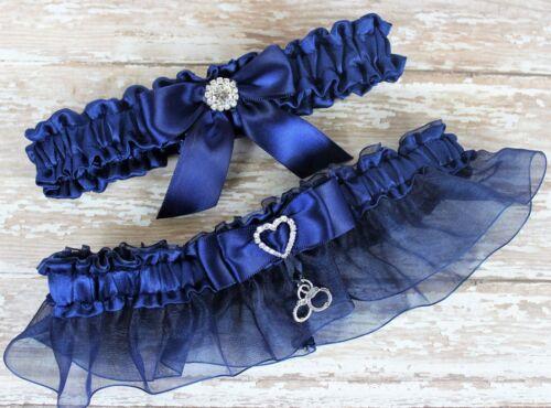PLUS SIZE Navy Blue Wedding Garter Set With Handcuffs Charm, US SELLER