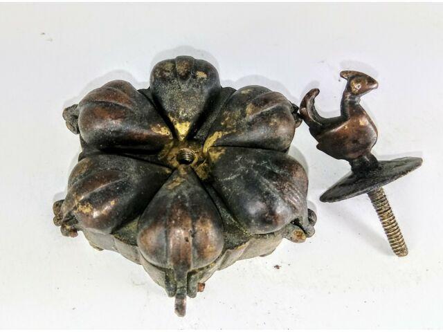 Antique Hindu Indian brass bronze Kumkum 6 hinged spice box peacock primitive