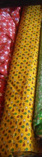 Fabric Vintage Ely & Walker Made USA Yellow Floral Print Perma Press Cotton 4yd
