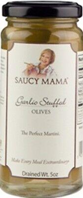 - (Case of 6) Saucy Mama Garlic Stuffed Olives