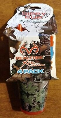 4 Pack REALTREE 18M+ CAMO 7oz with Orange Blue Lids BPA Free (Camo Cup)