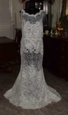 LACE Bridal Gown Overlay Wedding Dress Size Ivory 16W