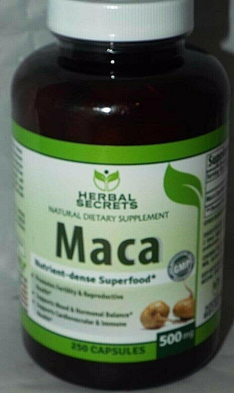 Herbal Secrets Maca 500 Mg 250 Caps - Supports Reproductive