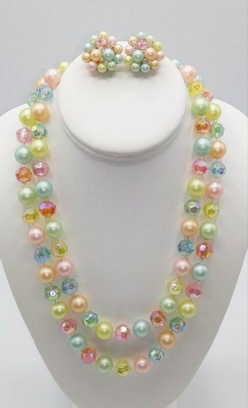 Vintage Pastel Beaded Necklace Earring Set Hong Kong