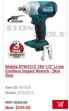 Makita impact wrench dtw251 18v skin only Casula Liverpool Area Preview