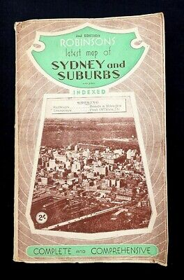 ROBINSONS MAP SYDNEY AUSTRALIA SUBURBS 2nd EDITION 1920s ROADS RAILWAYS TRAMWAYS