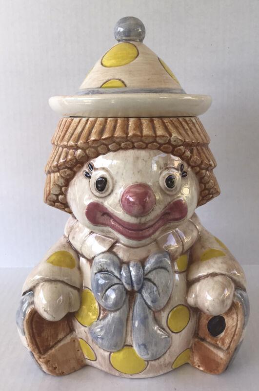 "Vintage Cookie Jar Clown 12 1/2"" Ceramic Treasure Craft USA Collectible"