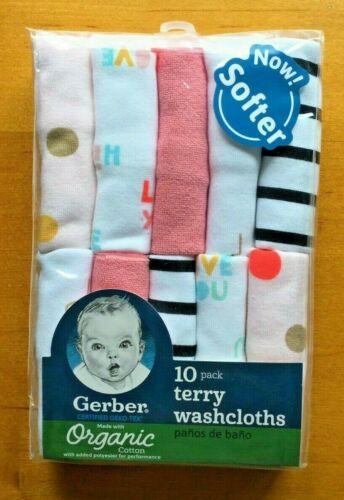 Gerber Baby Girls 10 Pack Organic Terry Washcloths - PINK/White - FREE SHIPPING!