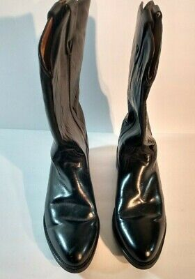 VTG Acme Black Leather Cowboy Western Boots Made in the USA 10.5 D