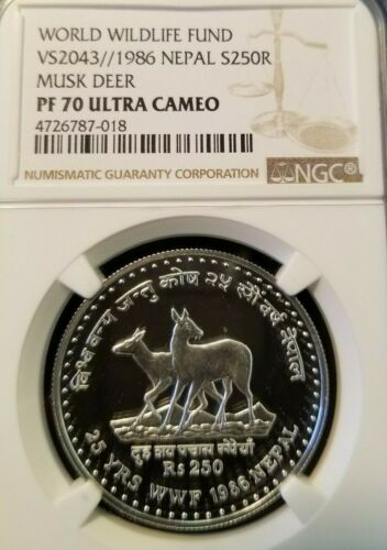 1986 NEPAL SILVER 250 RUPEES MUSK DEER NGC PF 70 ULTRA CAMEO FINEST KNOWN POP 1