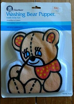 - Gerber Bear Puppet Washcloth Baby Bath Mitt Washing 1989 New Soft Terry VTG