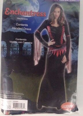 Halloween Costume Red Dress (NEW Womens Enchantress Halloween Costume Black Red Hooded Dress SZ S)