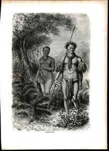 Amazon Tribe Nude Woman Jewelry Hunting 1866 antique wood engraved print