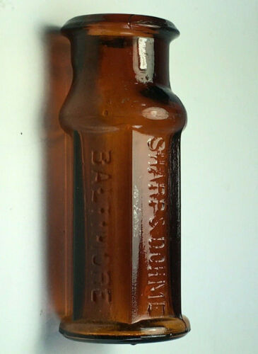Antique Amber Sharp & Dohme Medicine Poison Bottle Baltimore 1890's Marked 29A