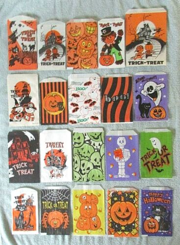 20 Halloween Paper Trick or Treat Candy Craft Bags Vtg lot Ghost JOL Witch