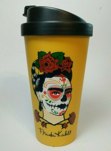 Frida Kahlo Day of the Dead Sugar Skull Coffee Cup w/ Lid Yellow Plastic 16 oz