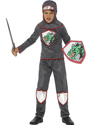 Boys Knight Costume Gladiator Warrior Silver Gray Renaissance Kids Child M L NEW (Renaissance Costume For Boys)