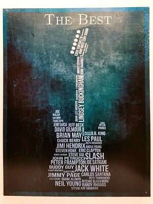 THE BEST GUITARISTS -  ELECTRIC GUITAR TYPOGRAPHY - COLLECTIBLE TIN SIGN - (Best Electric Guitar Music)