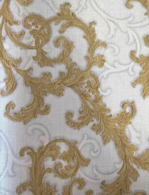 Versace Wallpaper Damask Swirl Trail Gold Off White Textured Paste Wall Vinyl