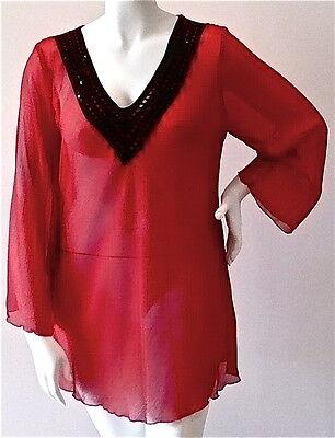 (Alisa M Red Chiffon Tunic Blouse with Black Sequin Crochet Trim - Plus 1X 2X New)