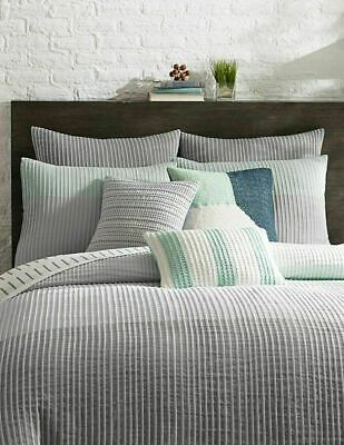 KAS ROOM $168 White FINLEY Twin  Duvet Covers GRAY 100% Cotton Bedding M13