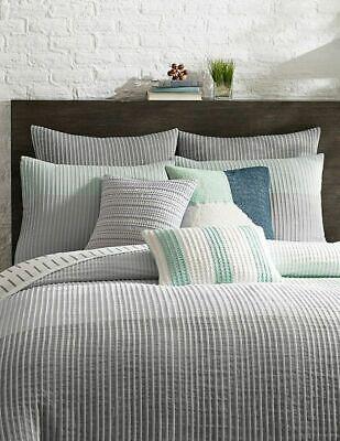 Duvet Cover Twin Stripe KAS Room Finley Color Grey Aqua Blue Tones - grymul - 13