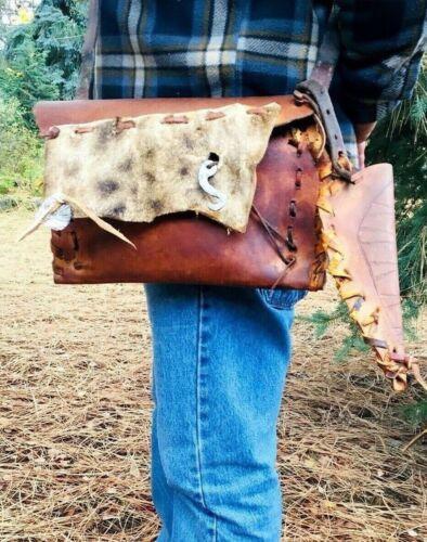 Mountain Man Possibles Bag Giraffe Hide Embellishment Hammered Steel Striker
