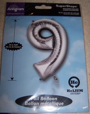 Party Balloon Packages (SuperShape Foil Number 9 SILVER Jumbo Party Balloon NEW in PACKAGE 34)