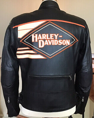 HARLEY DAVIDSON Men's MEDIUM Armored Black Leather Jacket W/ Zip-Out Liner