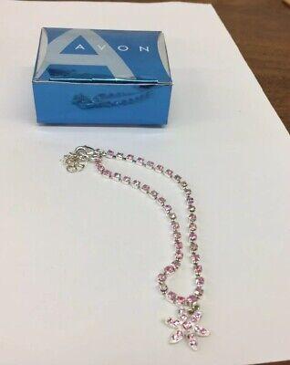 """Darling Shimmering Pink AVON Silver Tone 8"""" Long w/1"""" Extension Anklet Bracelet ()"""