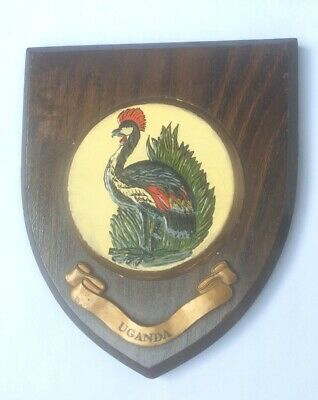 VINTAGE HAND PAINTED WALL PLAQUE SHIELD - UGANDA