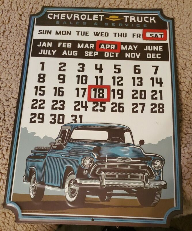 Chevrolet Pickup Truck Embossed Metal Open Road Brands Calendar Sign