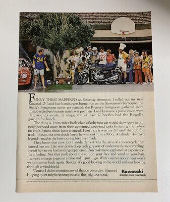 1975 Kawasaki Z-1 Motorcycle Print Ad Advertising Vintage Let Good Times Roll