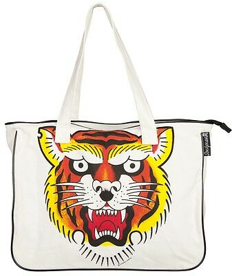 78063 Le Tigre Tattoo Flash Canvas Tote Bag Sourpuss Tiger Traditional Tattoo ](Canvas Tote Bags Cheap)