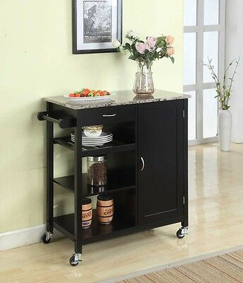عربة طعام جديد Kings Brand Black Finish Wood & Marble Finish Top Kitchen Storage Cabinet Cart