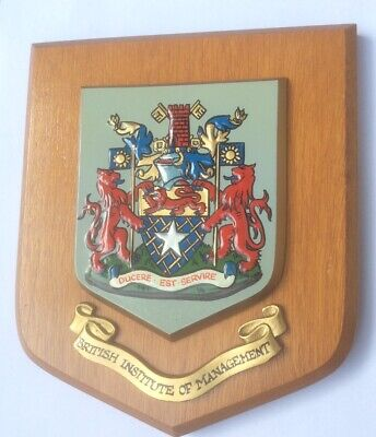 VINTAGE HAND PAINTED HERALDIC WALL PLAQUE  - BRITISH INSTITUTE OF MANAGEMENT