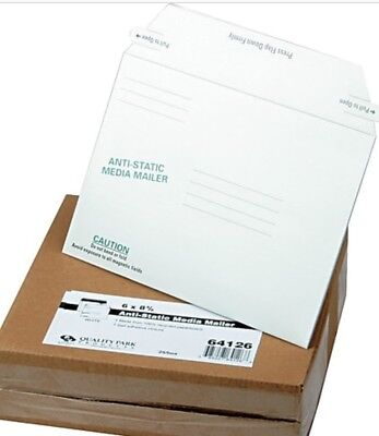 Quality Park Antistatic Fiberboard Disk Mailers, 6 x 8.625 inches, White, Box of