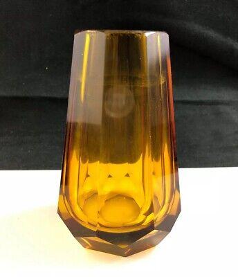 """🟢 JOSEF HOFFMANN WIENNER WERKSTATTE Vienna Amber Cut Glass 4 3/8"""" Vase"""
