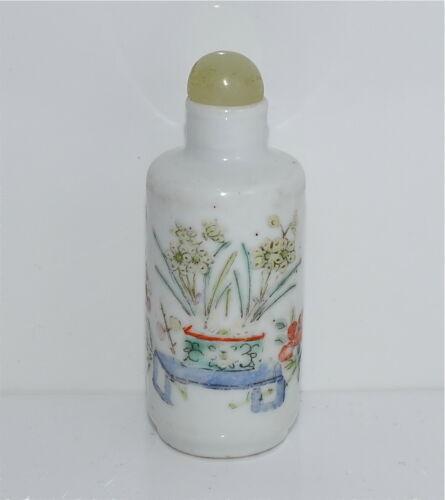 Antique Porcelain Famille Rose Snuff Bottle Hardstone Top Narcissus Qing