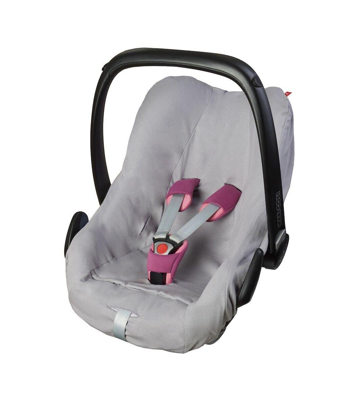 ByBoom® Universal Baumwoll Sommerbezug, Schonbezug für Babyschale z.B. Maxi Cosi Hellgrau